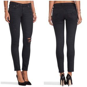 AG Black The Legging Ankle Distressed Jeans 28